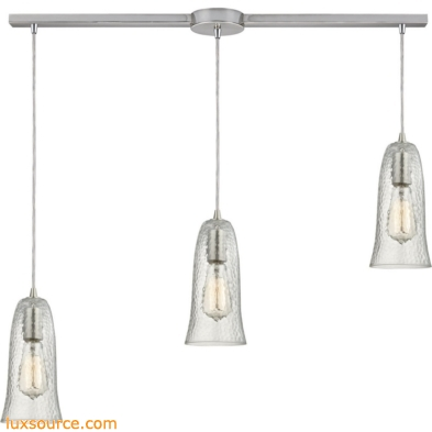 Hammered Glass 3 Light Pendant In Satin Nickel 10431/3L-CLR