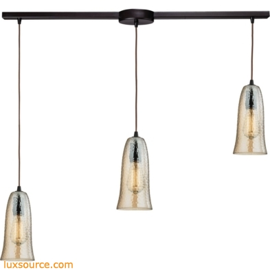Hammered Glass 3 Light Pendant In Oil Rubbed Bronze 10431/3L-HAMP