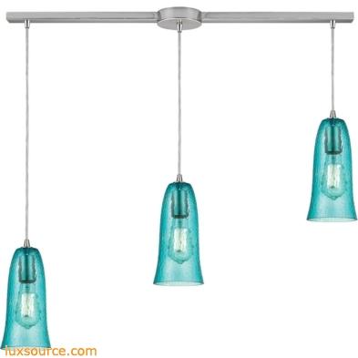 Hammered Glass 3 Light Pendant In Satin Nickel 10431/3L-HAQ