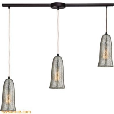 Hammered Glass 3 Light Pendant In Oil Rubbed Bronze 10431/3L-HME