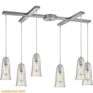Hammered Glass 6 Light Pendant In Satin Nickel 10431/6CLR