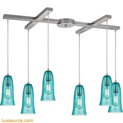 Hammered Glass 6 Light Pendant In Satin Nickel 10431/6HAQ