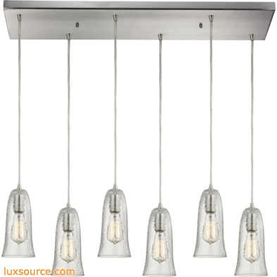 Hammered Glass 6 Light Pendant In Satin Nickel 10431/6RC-CLR