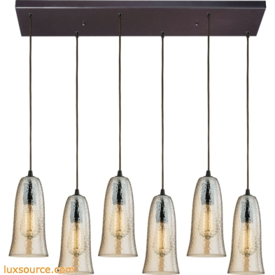 Hammered Glass 6 Light Pendant In Oil Rubbed Bronze 10431/6RC-HAMP