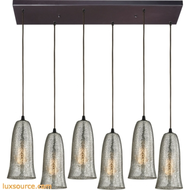 Hammered Glass 6 Light Pendant In Oil Rubbed Bronze 10431/6RC-HME