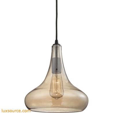 Orbital 1 Light Pendant In Oil Rubbed Bronze And Amber Teak Glass 10432/1