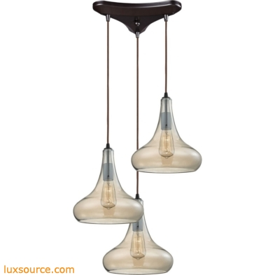 Orbital 3 Light Pendant In Oil Rubbed Bronze And Amber Teak Glass 10432/3