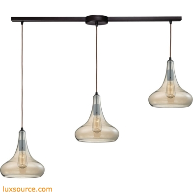 Orbital 3 Light Pendant In Oil Rubbed Bronze And Amber Teak Glass 10432/3L