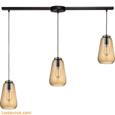 Orbital 3 Light Pendant In Oil Rubbed Bronze And Amber Teak Glass 10433/3L