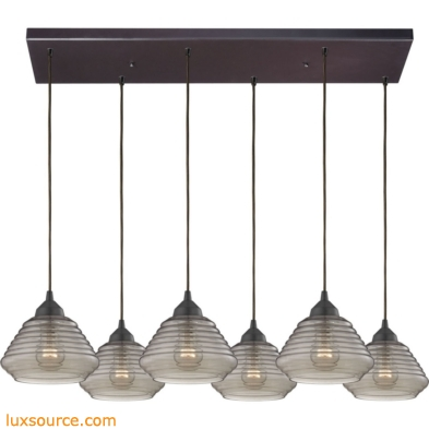 Orbital 6 Light Pendant In Oil Rubbed Bronze And Smoke Glass 10434/6RC