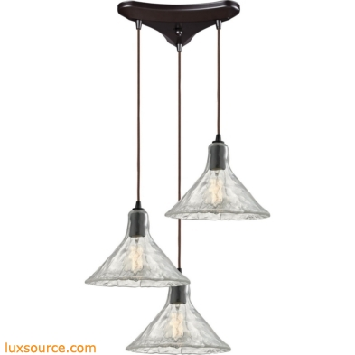 Hand Formed Glass 3 Light Pendant In Oil Rubbed Bronze 10435/3