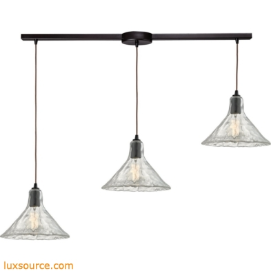 Hand Formed Glass 3 Light Pendant In Oil Rubbed Bronze 10435/3L