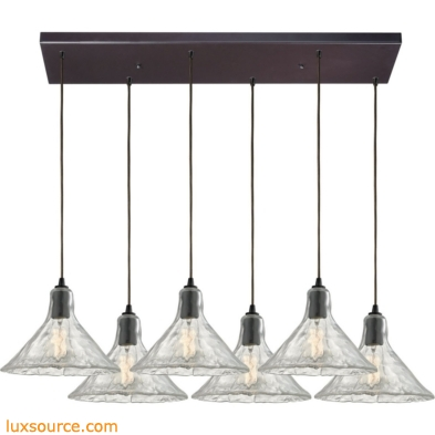 Hand Formed Glass 6 Light Pendant In Oil Rubbed Bronze 10435/6RC