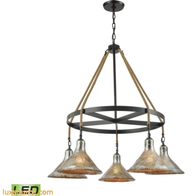 Hand Formed Glass 5 Light LED Chandelier In Oil Rubbed Bronze 10436/5CH-LED
