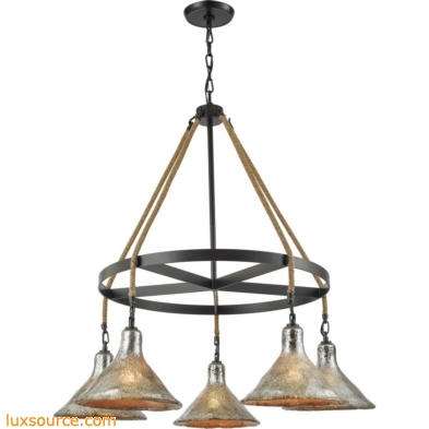 Hand Formed Glass 5 Light Chandelier In Oil Rubbed Bronze 10436/5CH