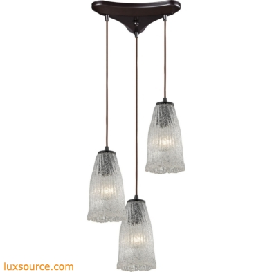 Hand Formed Glass 3 Light Pendant In Oil Rubbed Bronze 10437/3
