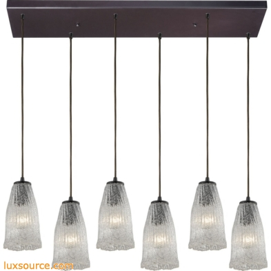 Hand Formed Glass 6 Light Pendant In Oil Rubbed Bronze 10437/6RC