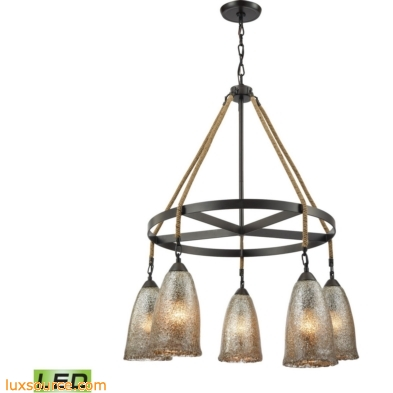 Hand Formed Glass 5 Light LED Chandelier In Oil Rubbed Bronze 10438/5CH-LED