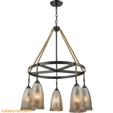 Hand Formed Glass 5 Light Chandelier In Oil Rubbed Bronze 10438/5CH