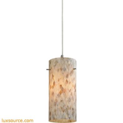 Capri 1 Light Pendant In Satin Nickel And Capiz Shell 10442/1