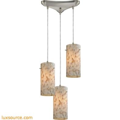 Capri 3 Light Pendant In Satin Nickel And Capiz Shell 10442/3