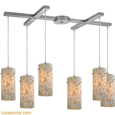 Capri 6 Light Pendant In Satin Nickel And Capiz Shell 10442/6