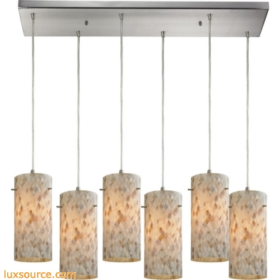 Capri 6 Light Pendant In Satin Nickel And Capiz Shell 10442/6RC