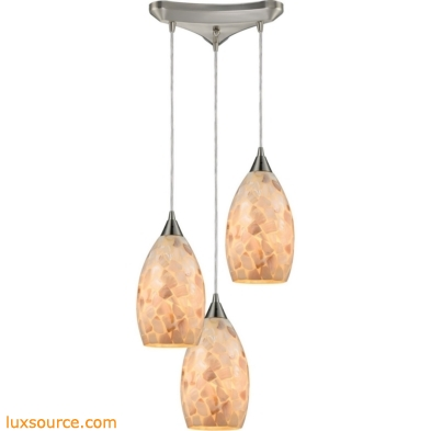 Capri 3 Light Pendant In Satin Nickel And Capiz Shell 10443/3