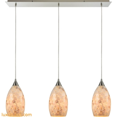 Capri 3 Light Pendant In Satin Nickel And Capiz Shell 10443/3LP