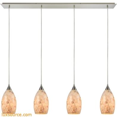Capri 4 Light Pendant In Satin Nickel And Capiz Shell 10443/4LP