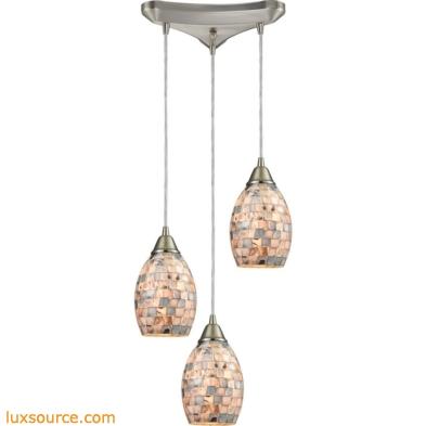 Capri 3 Light Pendant In Satin Nickel And Gray Capiz Shell 10444/3