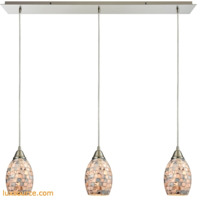 Capri 3 Light Pendant In Satin Nickel And Gray Capiz Shell 10444/3LP