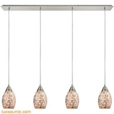 Capri 4 Light Pendant In Satin Nickel And Gray Capiz Shell 10444/4LP