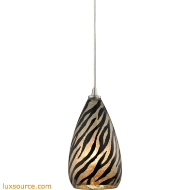Predator 1 Light Pendant In Satin Nickel And Leopard Glass 10445/1