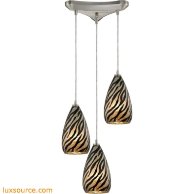 Predator 3 Light Pendant In Satin Nickel And Leopard Glass 10445/3