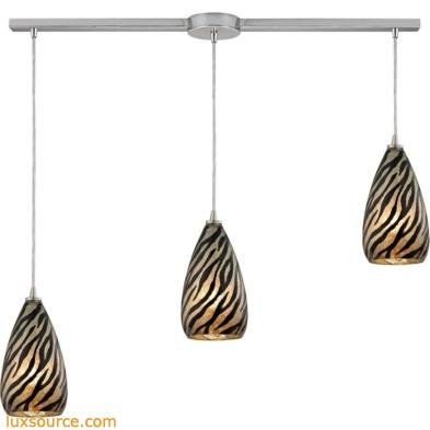 Predator 3 Light Pendant In Satin Nickel And Leopard Glass 10445/3L