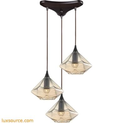 Geometrics 3 Light Pendant In Oil Rubbed Bronze 10450/3