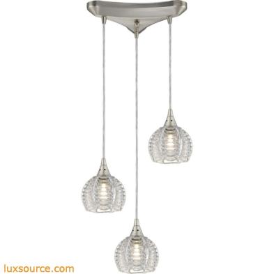 Kersey 3 Light Pendant In Satin Nickel 10455/3