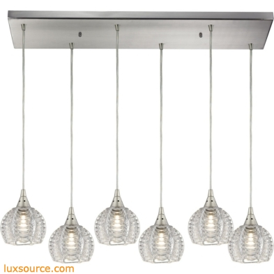 Kersey 6 Light Pendant In Satin Nickel 10455/6RC
