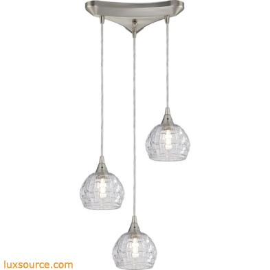 Kersey 3 Light Pendant In Satin Nickel 10456/3