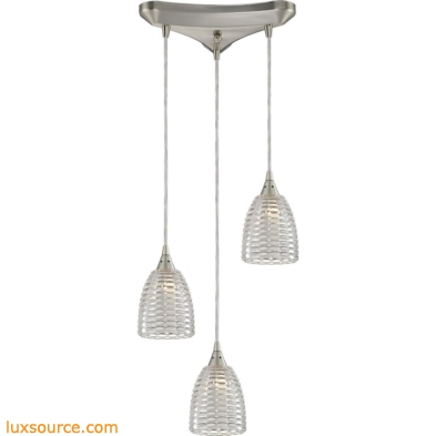 Kersey 3 Light Pendant In Satin Nickel 10457/3