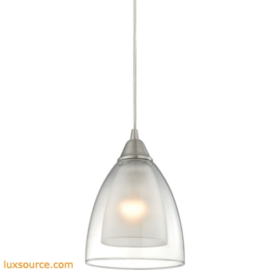 Layers 1 Light Pendant In Satin Nickel And Clear Glass 10464/1