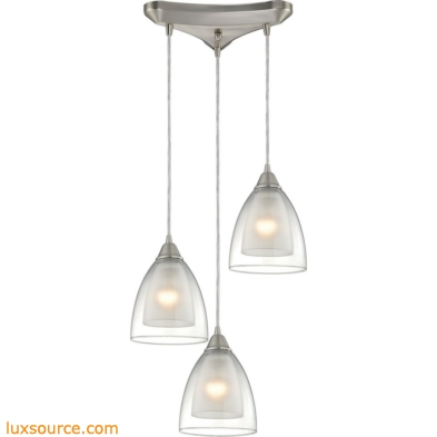 Layers 3 Light Pendant In Satin Nickel And Clear Glass 10464/3