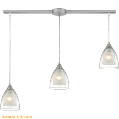 Layers 3 Light Pendant In Satin Nickel And Clear Glass 10464/3L