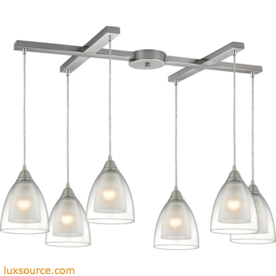 Layers 6 Light Pendant In Satin Nickel And Clear Glass 10464/6