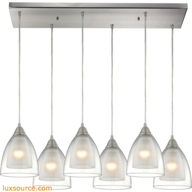 Layers 6 Light Pendant In Satin Nickel And Clear Glass 10464/6RC