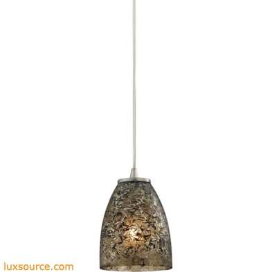 Fissure 1 Light Pendant In Satin Nickel And Smoke Glass 10465/1BRF
