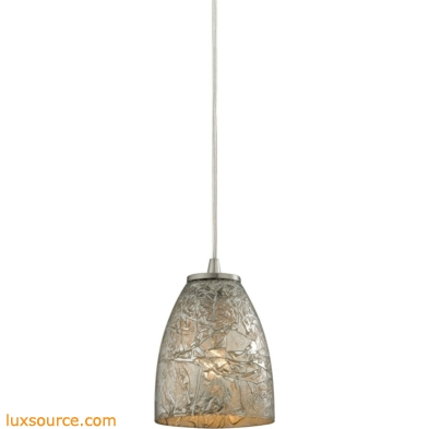 Fissure 1 Light Pendant In Satin Nickel And Silver Glass 10465/1SVF
