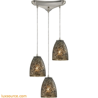 Fissure 3 Light Pendant In Satin Nickel And Smoke Glass 10465/3BRF