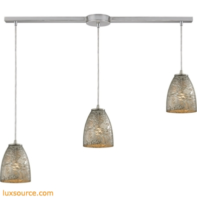 Fissure 3 Light Pendant In Satin Nickel And Silver Glass 10465/3L-SVF